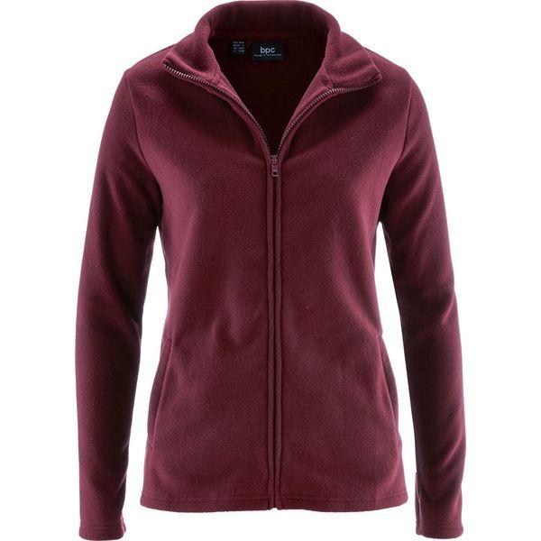 Bluza rozpinana z polaru z wpuszczanymi kieszeniami bonprix czerwony klonowy