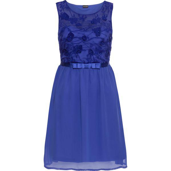 93092da26c Krótka sukienka wieczorowa z koronkową aplikacją bonprix niebieski ...