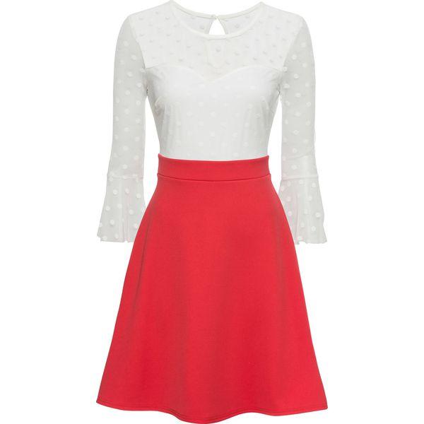 dc5899a7ae Sukienka z siatkową wstawką bonprix czerwono- biały - Sukienki ...