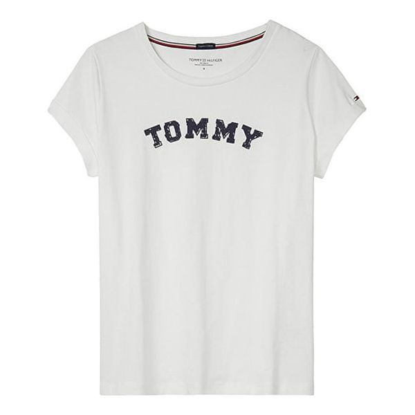 3445deae568e9 Tommy Hilfiger Ladies T-Shirt Varsity Cn Tee Ss Logo White ...