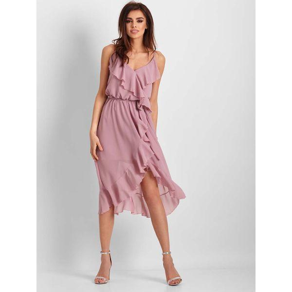 f7eb654e38697 Różowa Wzorzysta Asymetryczna Sukienka z Falbankami - Sukienki ...