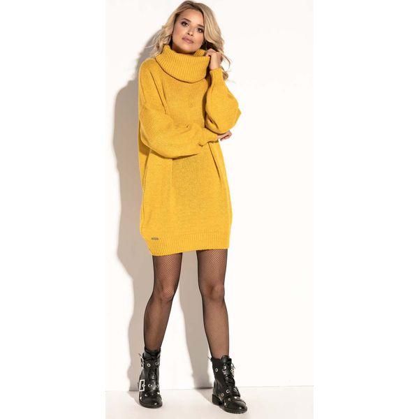 b8b8b965e2 Żółta Swetrowa Ciepła Sukienka z Wysokim Golfem. - Sukienki damskie ...