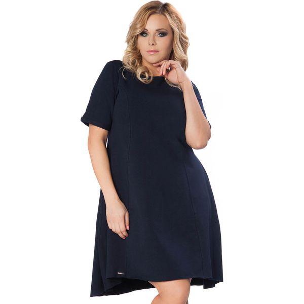 05649207a7 Granatowa Sukienka do Pracy z Wydłużonym Tyłem PLUS SIZE - Sukienki ...