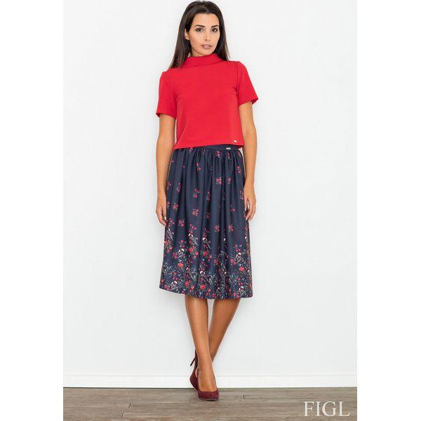 978451d1 Granatowa Spódnica Rozkloszowana Midi w Kolorowe Kwiaty