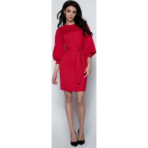 ca6e0498c0 Czerwona Sukienka z Bufiastym Rękawem 3 4 - Sukienki damskie marki ...