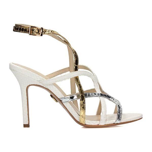 34d5f3316 Skórzane sandały w kolorze biało-srebrno-złotym - Sandały damskie ...