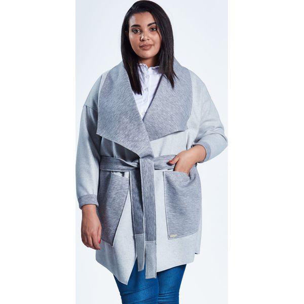 5205354ee1 Szary płaszcz kardigan Klara duże rozmiary dla puszystych PLUS SIZE ...