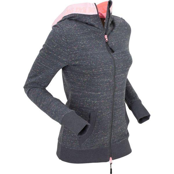 bd99512a3e4077 Bluza rozpinana z neonowymi elementami, długi rękaw bonprix szary melanż - Szare  bluzy damskie bonprix, bez wzorów, bez kaptura. Za 109.99 zł.