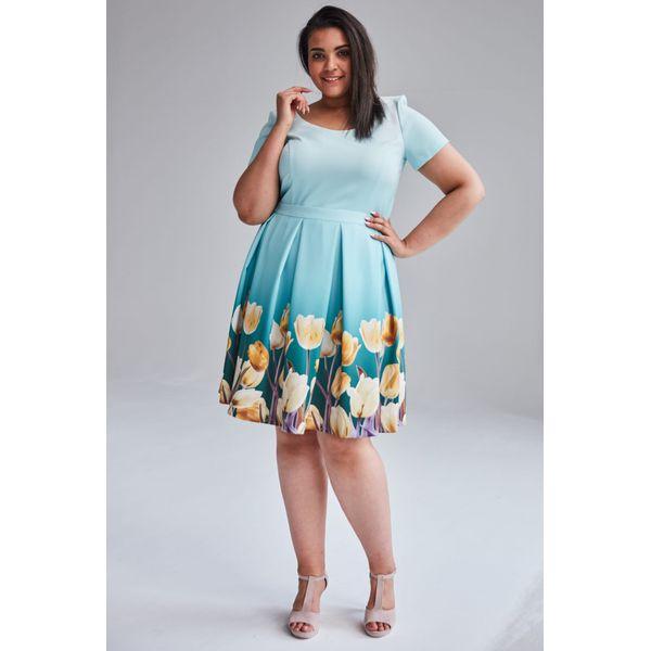 a10f7434fb Turkusowa wiosenna sukienka Gabi duże rozmiary OVERSIZE PLUS SIZE ...