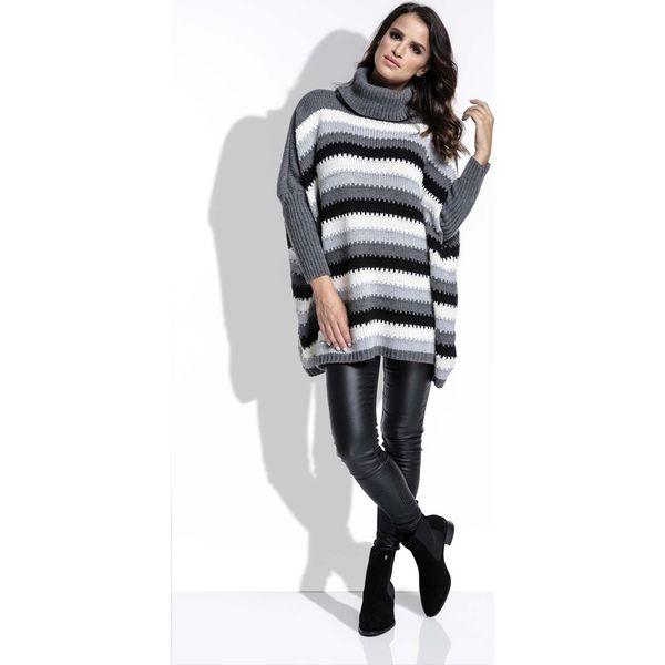 7fa3796082bb Grafitowy Sweter Oversizowy w Paski z Golfem - Golfy damskie marki ...