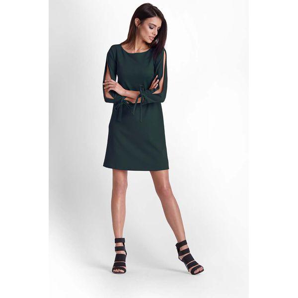 387cf0c58d Zielona Trapezowa Sukienka z Rozciętymi Rękawami - Sukienki damskie ...