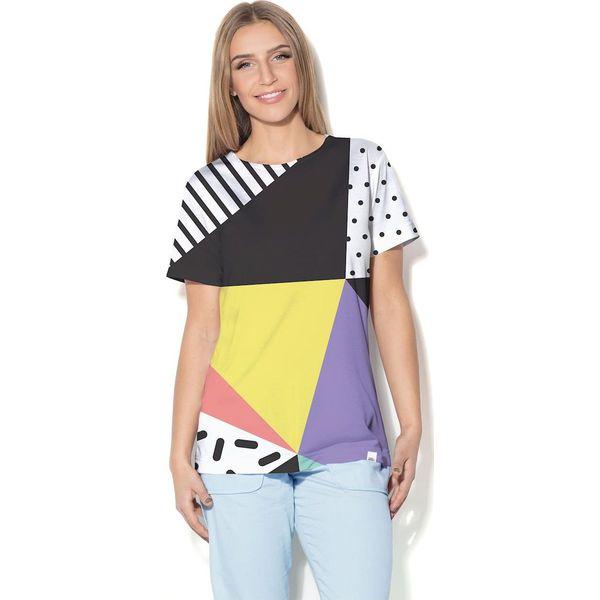 9099f019f5 Colour Pleasure Koszulka CP-030 24 czarno-żółto-biała r. XXXL XXXXL - Białe  koszulki damskie marki Colour Pleasure. Za 70.35 zł.