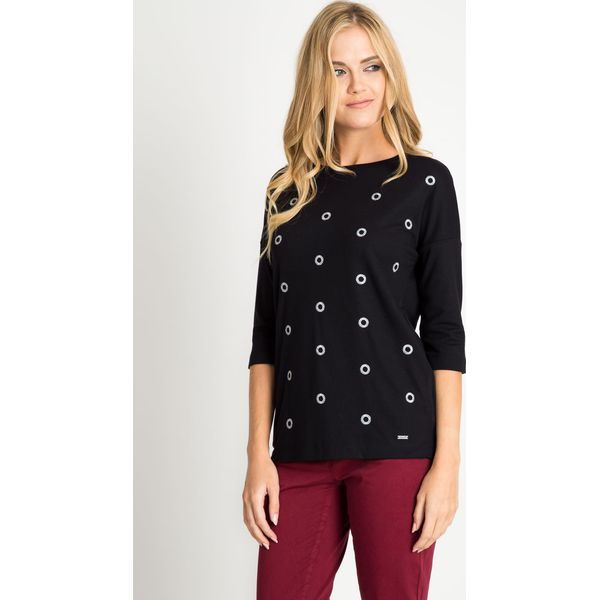 3e92141489d1b2 Czarna bluzka w srebrne kółka QUIOSQUE - Czarne bluzki damskie ...