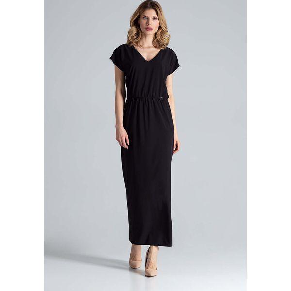e557da6c2b2008 Czarna Sukienka Maxi w Liście z Dekoltem V - Sukienki damskie marki ...