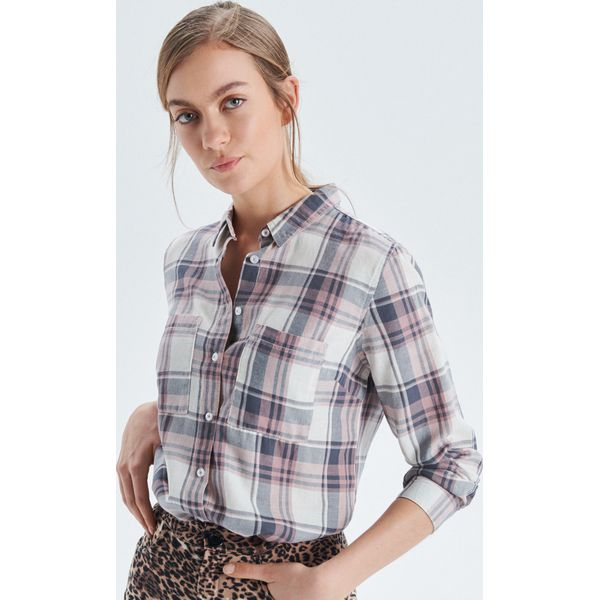 7df15e5e5d8bda Koszula w kratę - Różowy - Koszule damskie marki Cropp. W wyprzedaży ...