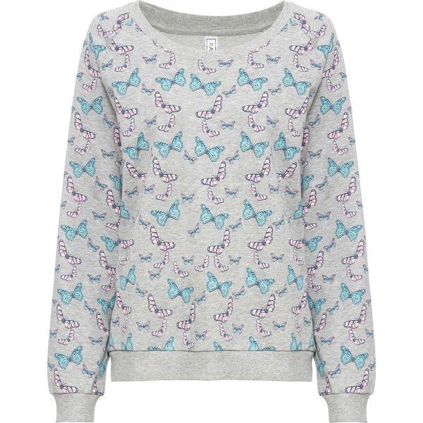 Bluza z nadrukiem w motyle bonprix jasnoszary melanż z nadrukiem
