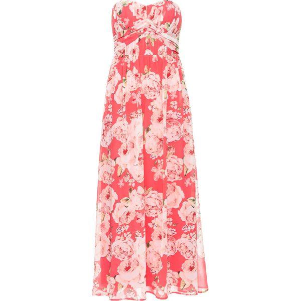 5d8d171d84 Długa sukienka szyfonowa bonprix jasnoróżowy w kwiaty - Czerwone ...
