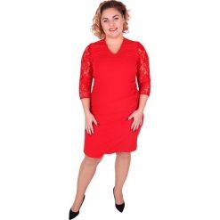 88a230dcba Elegancka czerwona sukienka z koronkowymi rękawami PLUS SIZE NOWOŚĆ.  Sukienki damskie marki Moda Size Plus