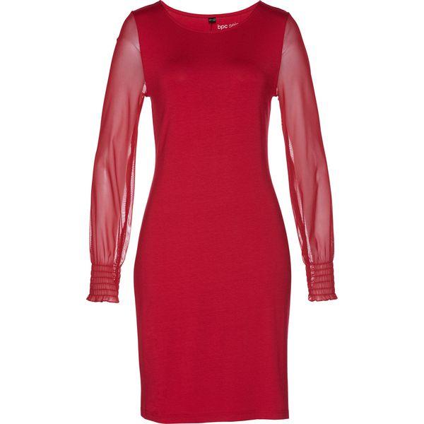 d7ae79238b Sukienka shirtowa z siatkowymi rękawami bonprix ciemnoczerwony ...