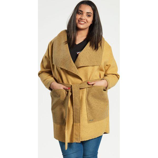 9968d6b97e Musztardowy płaszcz kardigan Klara duże rozmiary dla puszystych ...