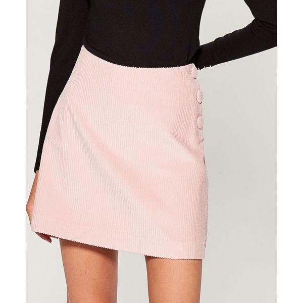 adff6a15 Sztruksowa spódnica z guzikami - Różowy