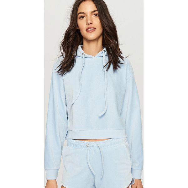 7b5d572bfe Welurowa bluza z kapturem - Niebieski - Niebieskie bluzy damskie ...