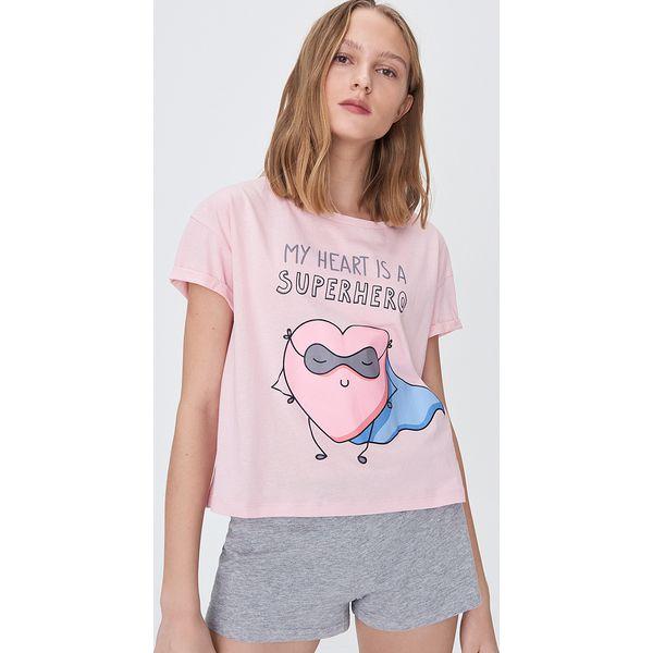 Dwuczęściowa piżama z nadrukiem Różowy