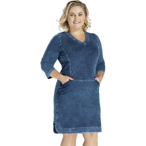 5810310d Jeansowa bawełniana sukienka DENIM OVERSIZE PLUS SIZE