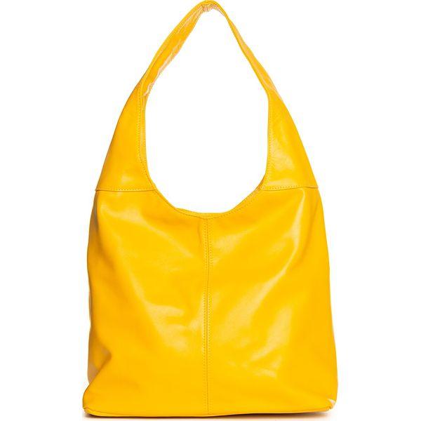 239b7baa8bd0c Skórzana torebka w kolorze żółtym - 33 x 32 x 16 cm - Torebki klasyczne  damskie marki Stylowe torebki. W wyprzedaży za 322.95 zł.