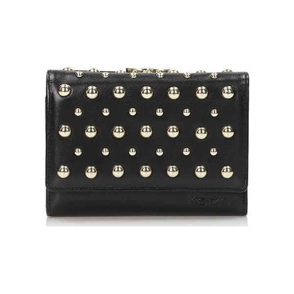 8e1f3efc743b7 Skórzany portfel w kolorze czarnym - (S)12 x (W)9 cm - Czarne ...