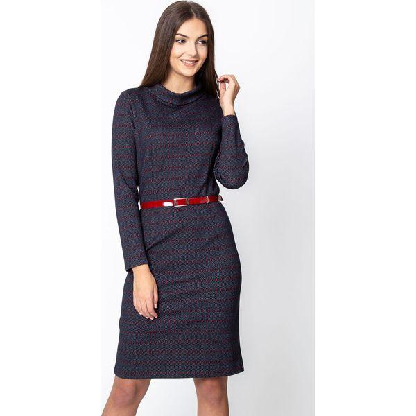 3a68d0f330 Granatowa sukienka z czerwonym wzorem QUIOSQUE - Sukienki damskie ...