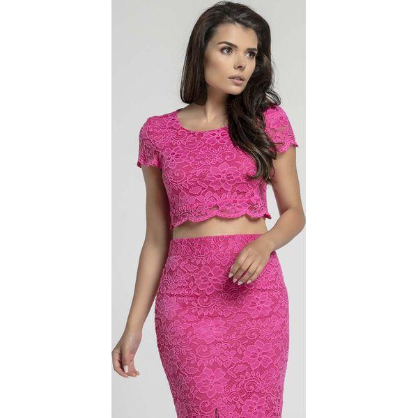 d981e3dc2ad235 Różowa Elegancka Krótka Koronkowa Bluzka - Czerwone bluzki damskie ...