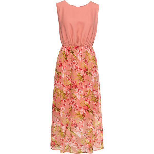 8f3d2b9514 Długa sukienka bonprix dymny brzoskwiniowy w kwiaty - Sukienki ...