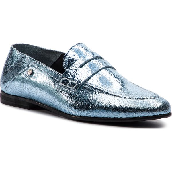 3ff03ef372a39 Lordsy TOMMY HILFIGER - Crackle Metallic Flat Loafer FW0FW03929 Aqua ...