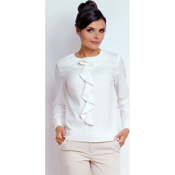 d9fe7b125e39e1 Ecru Kobieca Szykowna Bluzka z Żabotem - Szare bluzki damskie Molly.pl,  biznesowe, z dekoltem na plecach, z długim rękawem. Za 112.90 zł.