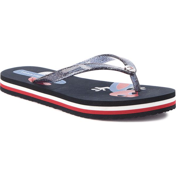 0b8bb45828153 Japonki TOMMY HILFIGER - Playful Print Beach Sandal FW0FW03406 Midnight 403  - Klapki damskie marki Tommy Hilfiger. Za 129.00 zł.