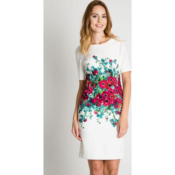 d1ff673e28 Klasyczna biała sukienka z kwiatową aplikacją BIALCON - Sukienki ...