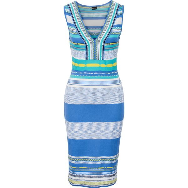 92dbd20c3b Sukienka dzianinowa bonprix nieb.-turkus-żółty - Niebieskie sukienki  damskie marki bonprix