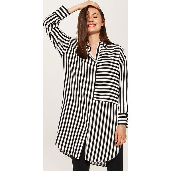 967f3a96a5cf52 Długa koszula w paski - Biały - Koszule damskie marki House. Za ...