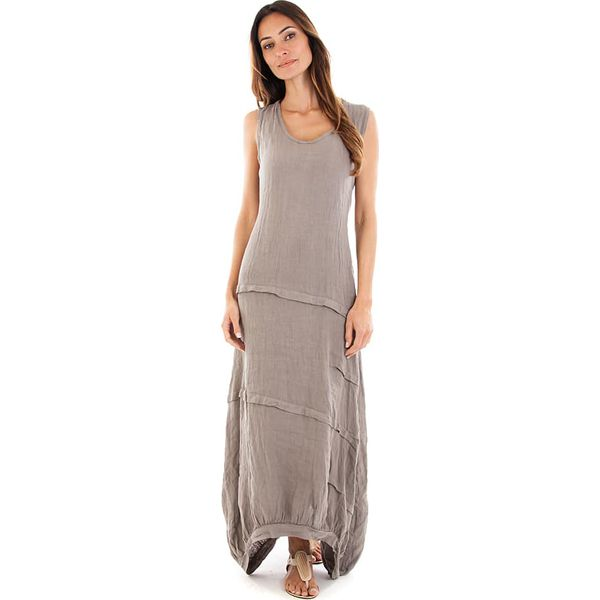 60a3eddadb Lniana sukienka w kolorze szarobrązowym - Brązowe sukienki damskie ...