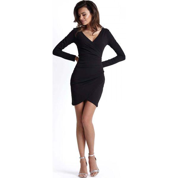 72392b26d648d7 Czarna Kopertowa Sukienka Wyjściowa z Asymetrycznym Dołem - Sukienki ...