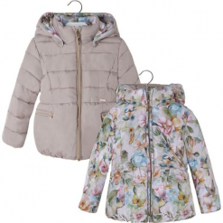 944b9a799ca7c Dwustronna kurtka w kolorze beżowym ze wzorem. Brązowe kurtki dziewczęce  marki Mayoral, na zimę