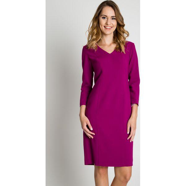 85d158ff9c Dopasowana sukienka z długim rękawem w kolorze fuksji BIALCON ...
