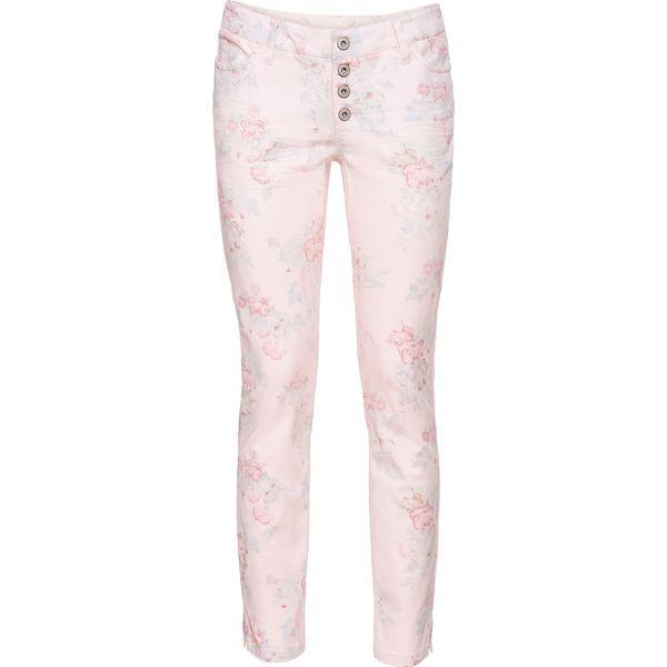 9d9dd30c Spodnie Skinny w kwiaty bonprix pastelowy jasnoróżowy w kwiaty