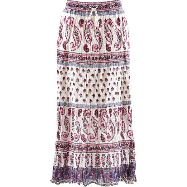 69969e9d Długa spódnica bonprix biel wełny z nadrukiem