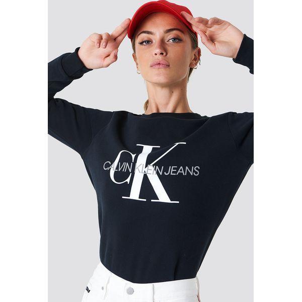 7a1f23ae1fc5b Calvin Klein Bluza Core Monogram Logo - Black - Bluzy damskie marki ...