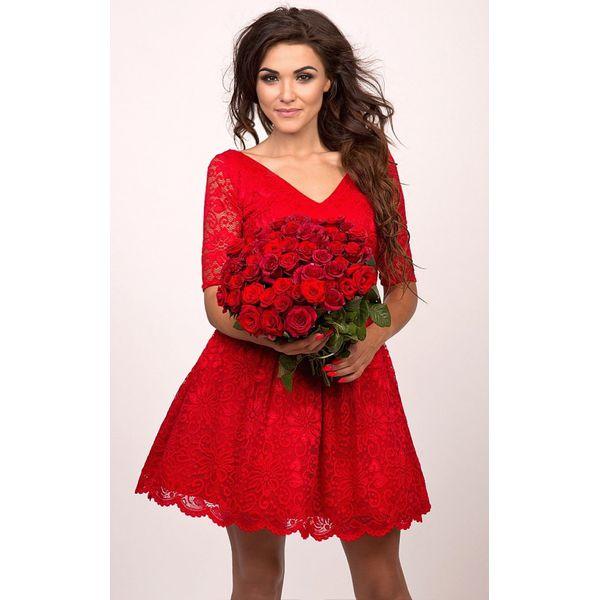 220fd9f1cf37c8 Sukienka z pięknej koronki odetta - Czerwone sukienki dziewczęce SHR ...