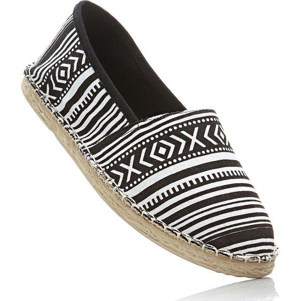 Espadryle bonprix czarno-biały wzorzysty - Balerinki damskie marki ... 4502e12280