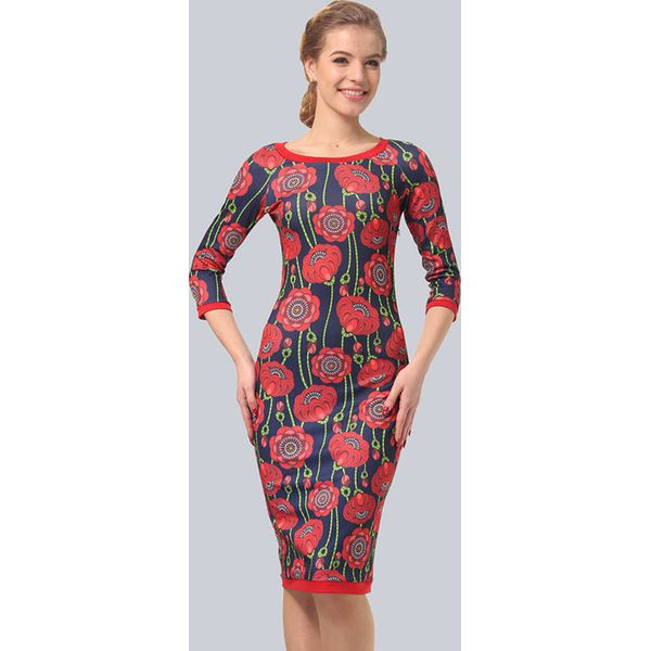 b26970b2dc Sukienka w kolorze czerwonym ze wzorem - Czerwone sukienki damskie ...