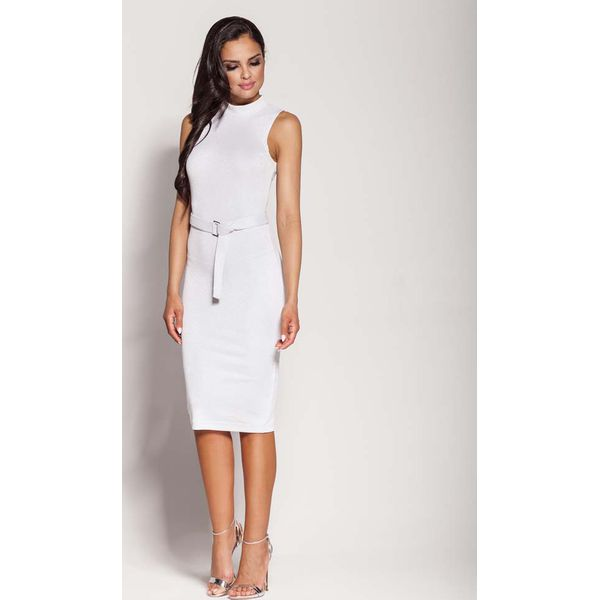 7b6c29578c Biała Elegancka Ołówkowa Sukienka z Połyskiem - Białe sukienki ...